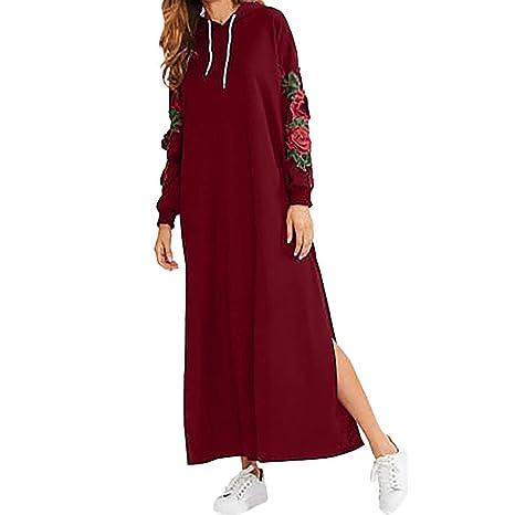 Qiusa Vestido Maxi Bordado Floral de Manga Larga para Mujer (Color : Rojo, tamaño