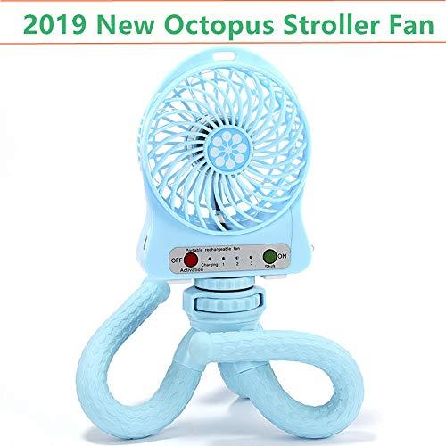 Mini Handheld Stroller Fan,Personal Portable Baby Fan with Flexible Tripod Fix on Stroller/Student Bed/Bike,USB or Battery Powered Desk Fan Adjustable 3 Speeds for ()