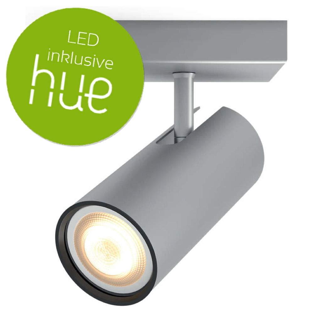 PHILIPS HUE Weiß Ambiance Buratto 1-er LED Deckenleuchte   Erweiterung   Silber   inkl. Leuchtmittel   AMAZON ECHO & APPLE HOMEKIT   GU10   IP20   LED Deckenlampe   Wohnzimmerlampe