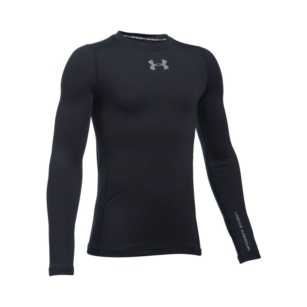 Under Armour Boys' ColdGear Armour Crew, Black /Steel, Youth Small by Under Armour