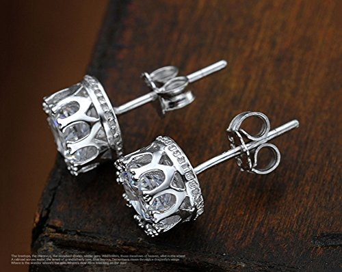 Alvade Shining Crown Earrings, Elegant Silver-Plated Stud Earrings Girl Jewelry Diamond Jewelry Ladies for Gift Silver Jewelry Graduation Gift by Alvade (Image #3)