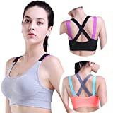 HeartFor Racerback Sports Bras for Women - Padded High Impact Workout,Pack of 3