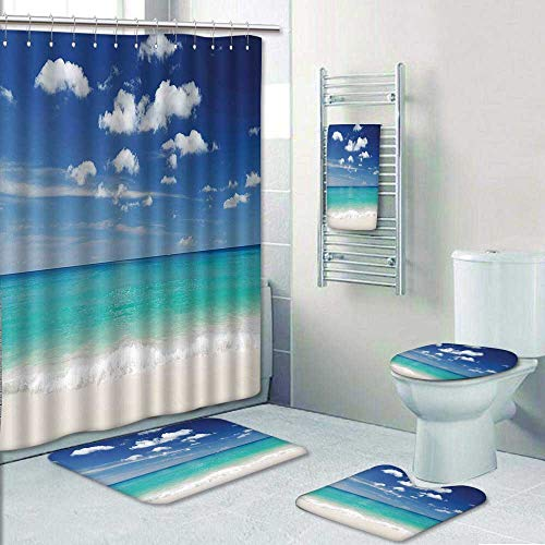 5 Piece Bath Set:1 Large Bat Mat 1 Contour Mat 1 Bath Towel,Beach with Exquisite Sky Relax Holiday Away Serene Coast Scenery Blue Turquoise White Pattern Printing Suit