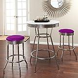 "36"" Tall Chrome Bar Table & 2 Glitter Purple Vinyl Seat Barstools"