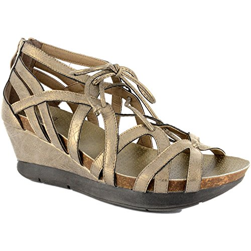 Corkys Women's Lace Brushed Gold Wedge Sandals (Corkys Shoes Women Sandals)