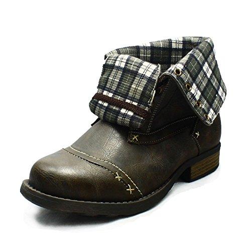 SendIt4me Older Boys Black Military Stiefel mit Check-Manschette Brown