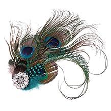 Dovewill Elegant Ladies Girls Peacock Feather Crystal Hair Clip Headpiece Hair Accessories