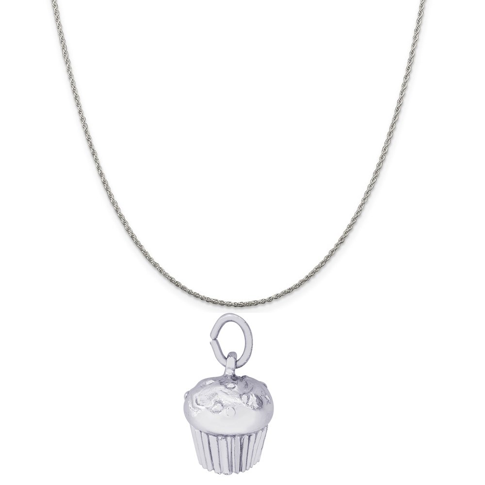 Rembrandt Charms Sterling Silver Muffin Charm on a 16 Box or Curb Chain Necklace 18 or 20 inch Rope