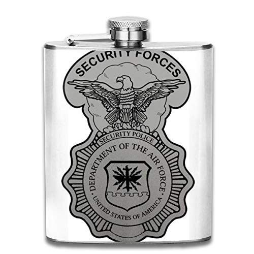 Steel Stainless Flask,Security Forces Grand Pocket Funnel,Screwed Top Liquor Alcohol Whiskey Spirits Hip for Men,7 OZ