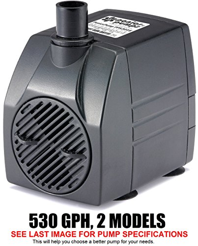 Gph 16 Foot Cord (PonicsPump PP53016: 530 GPH Submersible Pump with 16' Cord - 45W… for Hydroponics, Aquaponics, Fountains, Ponds, Statuary, Aquariums & more. Comes with 1 year limited warranty.)