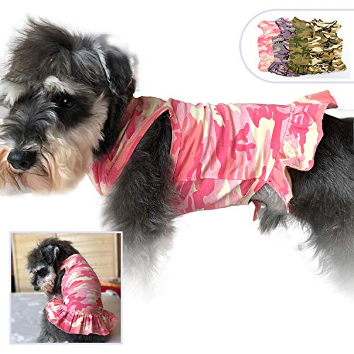 Shirt Dog Tank Camouflage - Pet Clothing Small Dog Clothes Camouflage Sport Dress T-Shirts Tee Dresses Tanks Top for Small Size Female Dogs Summer Spring Pet Costumes 100% Cotton (L, Pink)