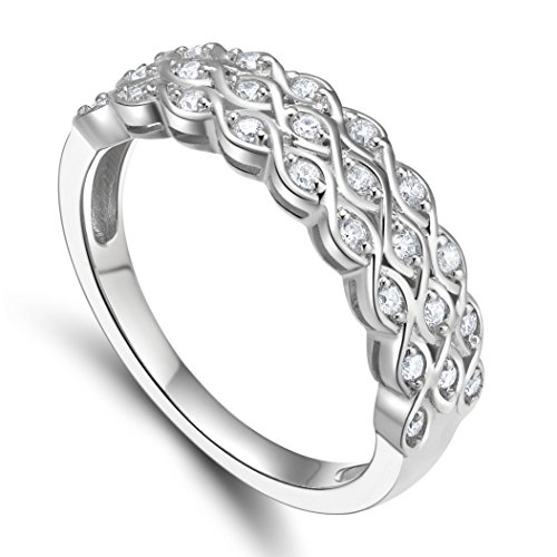 Sterling Bolster (925 Sterling Silver Cubic Zirconia Multi-Row Anniversary Ring (9))