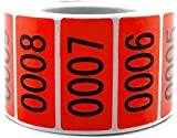Red Enzo Consecutively Numbered Sticker Labels 1.5 x 0.75' Water Proof Oil Resistance from Serial Number 1 to 1000 1.7' Core Roll