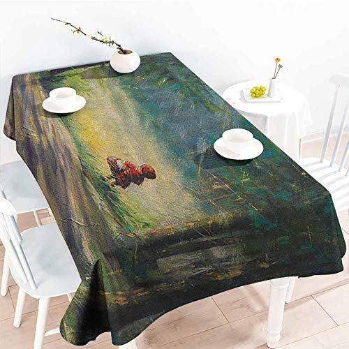 Dress Ancient Tie - EwaskyOnline Custom Tablecloth,Kids Watercolor Ancient Traditional Story Illustration Girl with Red Dress Brush Strokes,Table Cover for Kitchen Dinning Tabletop Decoratio,W60X102L, Multicolor