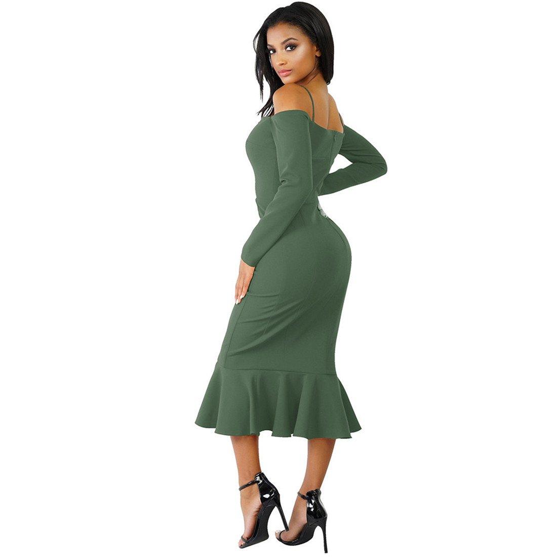 Womens Dresses,Moonuy Girl Slash Neck Ruffle Long Sleeve Evening Party Beach Dress For Ladies Fashion Spring Autumn Summer Casual Elegant Bodycon Skirt ...