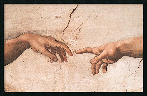 Framed Art Print, 'The Creation of Adam (Detail I)' by Michelangelo Buonarroti: Outer Size 37 x 25
