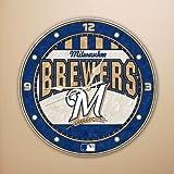 MLB Milwaukee Brewers 12-Inch Art Glass Clock