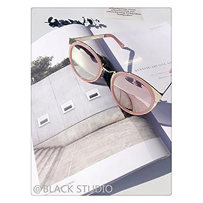 LXKMTXJ La tendance des lunettes de soleil rétro bord métallique circulaire sauvage visage rond femme lunettes pilote, poudre d'ivoire