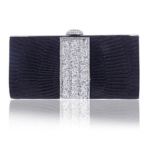Embrague Rulex Mujer Diamante Brillante Pintuck Para Damara Banquete Negro nYSwqaUYB