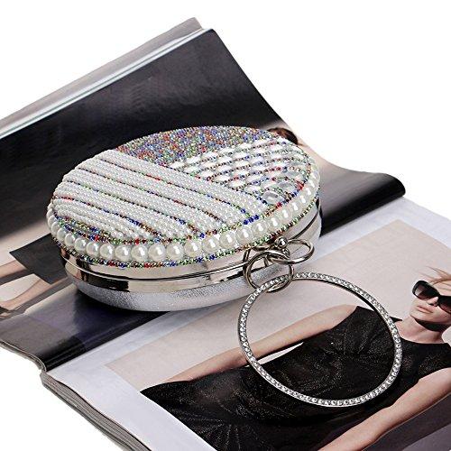 Robe Mariage Purse À Main Soirée Sacs Perles Chaîne Embrayages Perle Sacs Épaule Sac Femmes Diamants KYS De silver PqFO6wBw