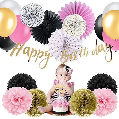 Wild One First Birthday Party Decoration Set Gold Happy Birthday Banner Cake Topper Boho Tribal Boy Girl Birthday Party Decor (1st Birthday Girl) ()