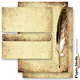 20tlg. Motivo Carta fully-set penna sulla vecchia carta 10fogli buste in formato DIN lungo, senza finestra 10+ Cancelleria