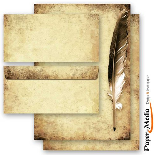 20-pc. Complete Motif Letter Paper-Set QUILL ON OLD PAPER 10 sheets of stationery paper + 10 matching envelopes DIN LONG windowless Paper-Media