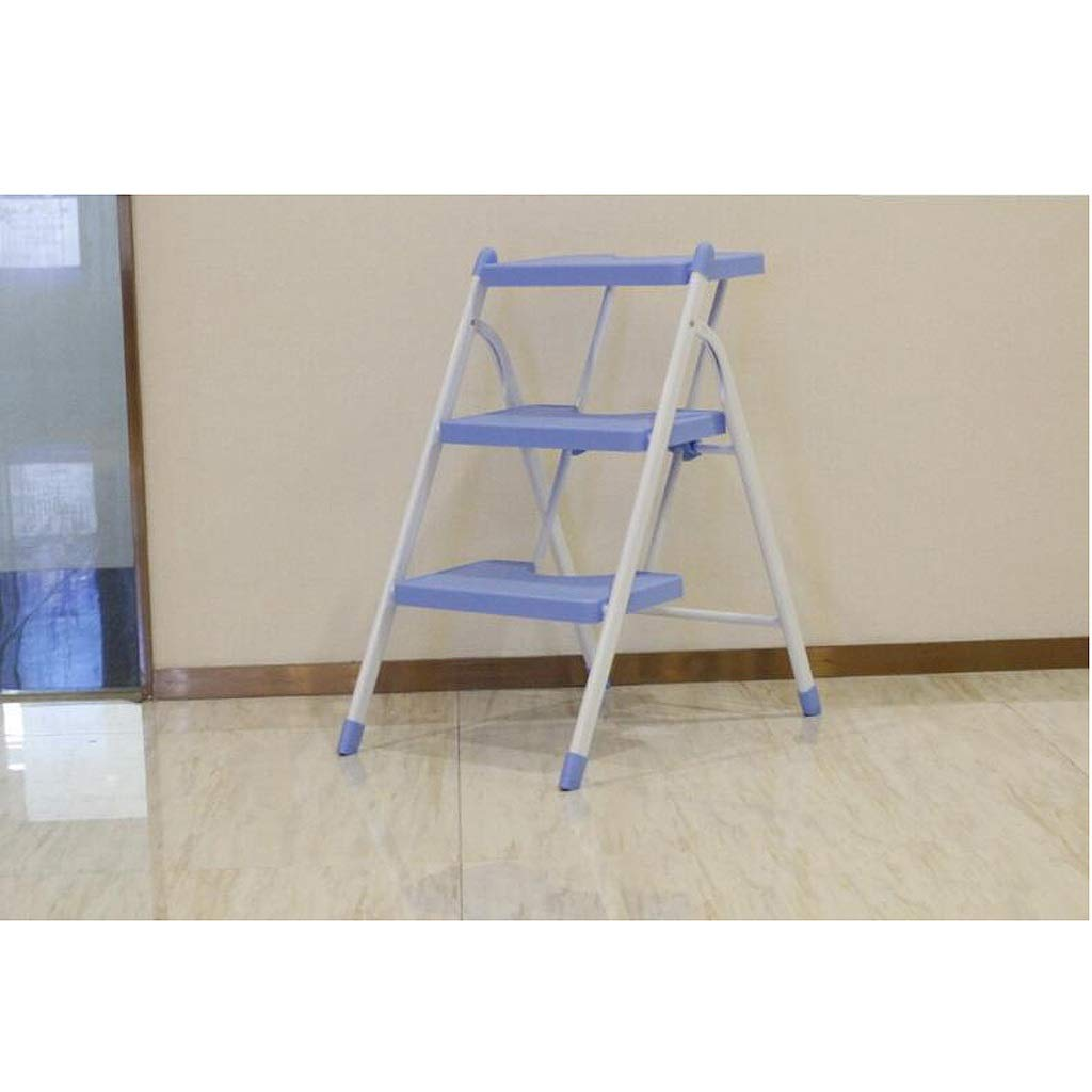 bluee LYLLYL Ladder Stool Small Ladder Home Indoor Folding Ladder Portable Steel Ladder Ladder Three Step Ladder Stool Multi-function Staircase Step stool (color   PINK)