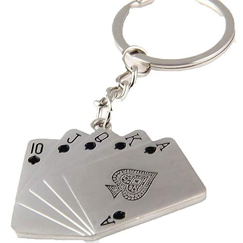 Amazon.com: TZNKEYR llavero de cartas de póquer de metal ...