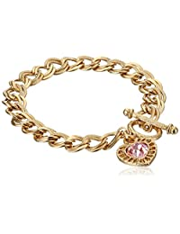 """1928 Jewelry """"Hearts"""" 14k Gold-Dipped Toggle Charm Bracelet with Pink Swarovski Crystals"""