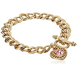 "1928 Jewelry ""Hearts"" 14k Gold-Dipped Toggle Charm Bracelet with Pink Swarovski Crystals"