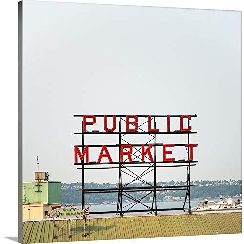 - Public Market Sign, Pike Place Market, Seattle, WA Canvas Wall Art Print, 16