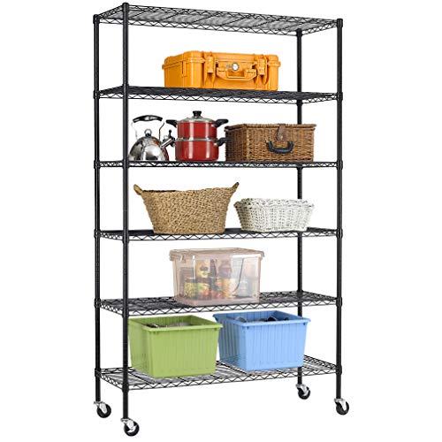 (NSF Wire Shelving Unit 6-shelf Large Storage Shelves Heavy Duty Metal Wire Rack Shelving Height Adjustable Commercial Grade Utility Steel Storage Rack on 4