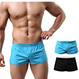 NECOA Mens Boxer Shorts,Solid Color Sexy Low Rise Underwear Boxer Briefs Casual Summer Homewear Underpants (M, Black+SkyBlue)