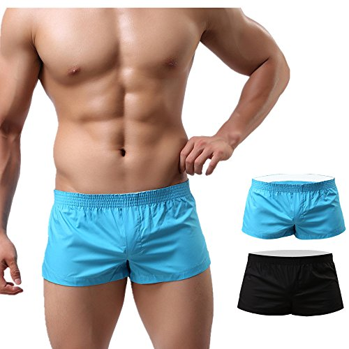 NECOA Mens Boxers Cotton, Mens Solid Color Sexy Underwear Boxer Briefs Casual Summer Homewear Underpants (L, - Shorts Fitted Boxer