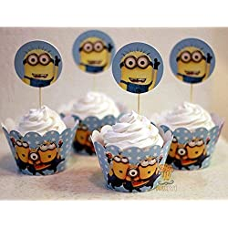 Fatflyshop - 24 Pieces/lot Despicable Me Minions Cupcake Wrappers Cake Toppers Picks Decoration Kids Birthday Party Favors Supplies