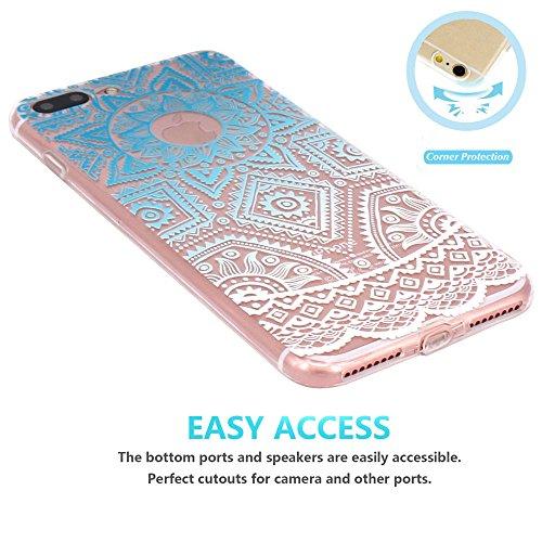 Coque iPhone 7 Plus, JIAXIUFEN Transparent Souple TPU Protecteur Silicone Étui Housse Coque pour iPhone 7 Plus - Blue White Tribal Henna