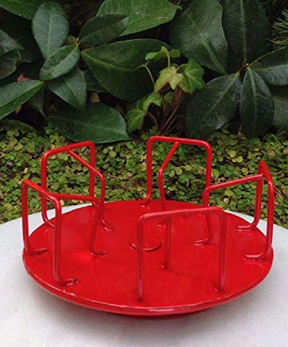 Danike Decor Miniature Dollhouse Fairy Garden Furniture Red Metal Spinning Merry-Go-Round