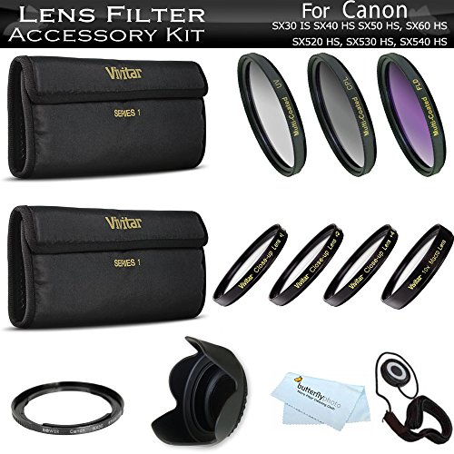 67mm Lens Filter Kit For Canon SX40 HS SX50 HS, SX60 HS, SX520 HS, SX530 HS, SX540 HS Digital Camera Includes Filter Adapter (Replaces FA-DC67A) + Close Up Lens Kit Includes +1 +2 +4 +10 + 3pc Filter Kit + More by ButterflyPhoto
