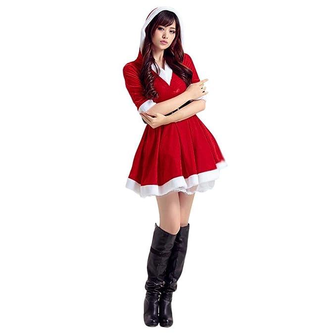 Enjoyall Costume Da Babbo Natale Donna Per Natale Feste  Amazon.it   Abbigliamento 381197cd306
