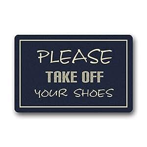 """Encanto casa Felpudo 23.6""""(L) X 15,7(W) fantástico exclusivo por favor quitar tus zapatos. Se puede lavar a máquina Felpudo Alfombrilla"""