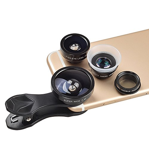 Apexel 5 in 1 Fisheye Lens, 12x Macro Lens, 24x Macro Lens, 0.4X Super Wide Angle Lens,CPL Lens,Clip on Cell Phone Lens Kits for iPhone 7/6s/6/5s Samsung S8/S8 Plus/S7/S6 Most Smartphones