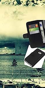 LECELL--Cuero de la tarjeta la carpeta del tirón Smartphone Slots Protección Holder For Samsung Galaxy S6 EDGE -- Enorme Tornado Huracán --