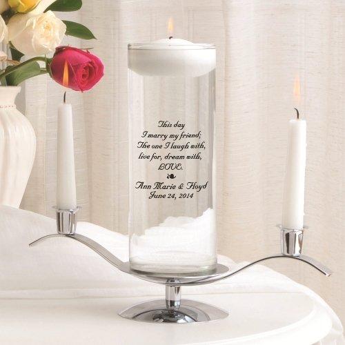 Personalized Floating Wedding Unity Candle Set - Personalized Wedding Candle Set - Includes Stand - This Day - Personalized Wedding Unity Candle