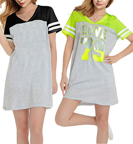 GEEK LIGHTING Cotton Nightshirts for Women Nightgowns Plus Size Sleepwear(Black&Grey+Green 2pack,2XL)