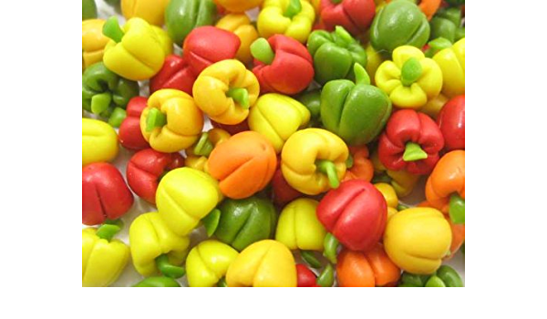 Lots of 10 Mini Green Bell Pepper 1:12 Dollhouse Miniatures Vegetables Food
