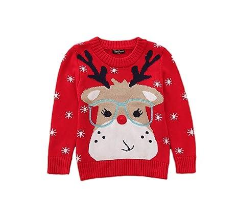 10fca5070edc1 Noël enfants bébé pull sweatshirt jeune fille Rudolph renne personnage  dessin animé col rond