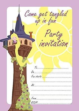 10 invitaciones para fiesta de cumpleaos para nios de rapunzel tangled color with pink envelopes