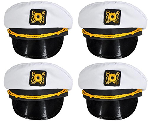 Adult Dressing Up Outfits (4 Pack of White Nautical Captain Sailing Hats (Adult One Size) by Bottles N Bags)