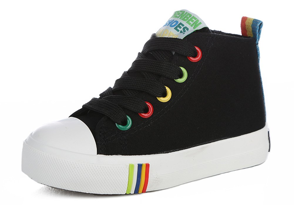 iDuoDuo Kids Rainbow School Tennis Shoes High Top Side Zipper Skate Sneakers Black 10.5 M US Little Kid